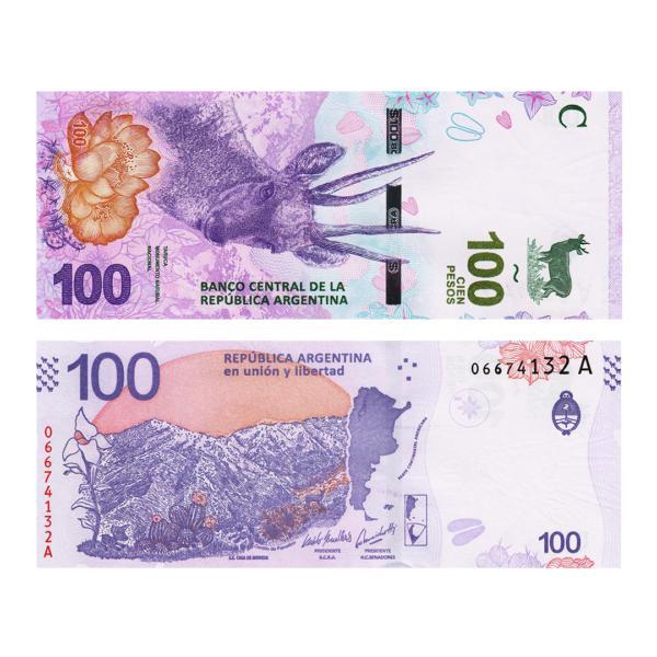 Аргентина банкнота 100 песо 2018 года