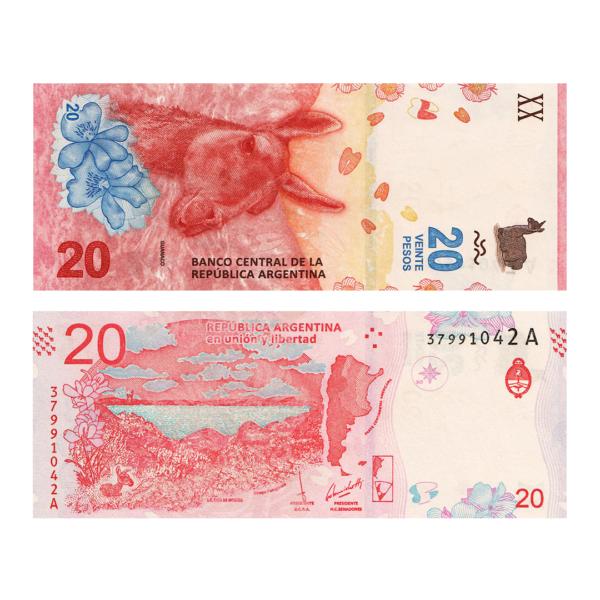 Аргентина банкнота 20 песо 2017 года