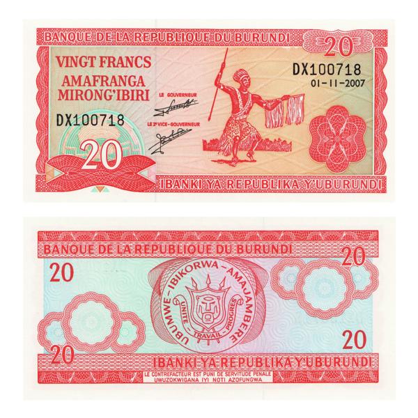 Бурунди  банкнота 20 франков 2007 года