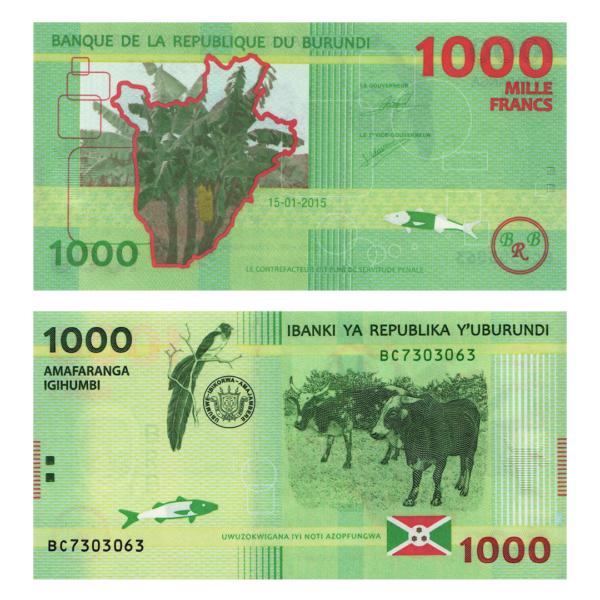 Бурунди полимерная банкнота 1000 франков 2015 года