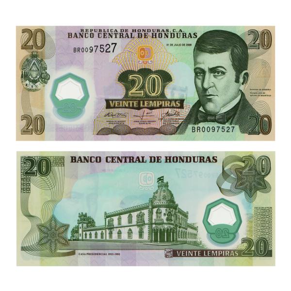 Гондурас полимерная банкнота 20 лемпир 2008 года
