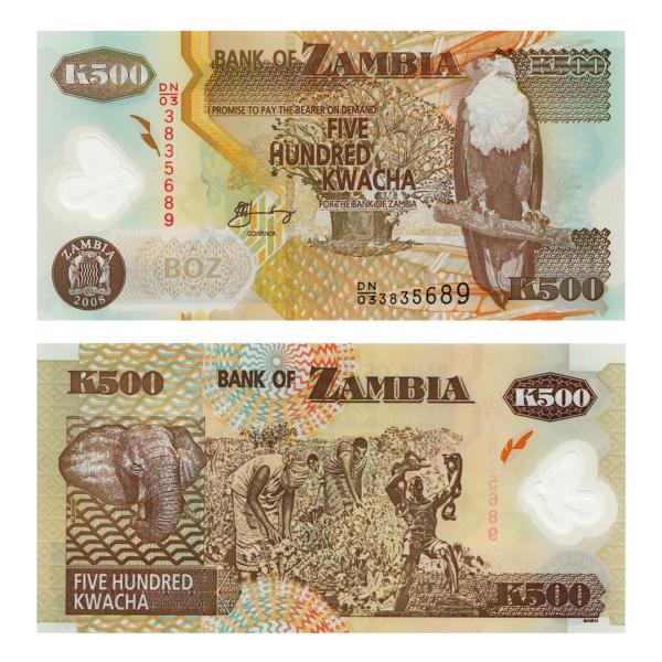 Замбия полимерная банкнота 500 квача 2008 года