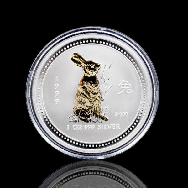 Австралия 1 доллар 1999 год - Год кролика /позолоченный кролик/- Серебро 0.999