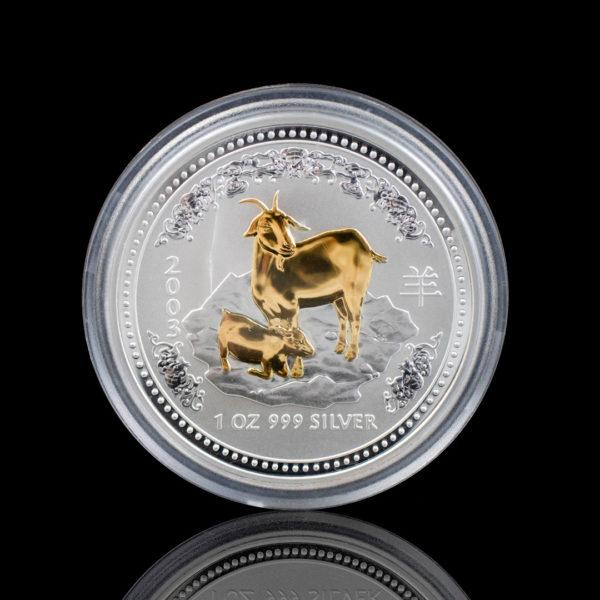 Австралия 1 доллар 2003 год - Год козы /позолоченная коза/- Серебро 0.999