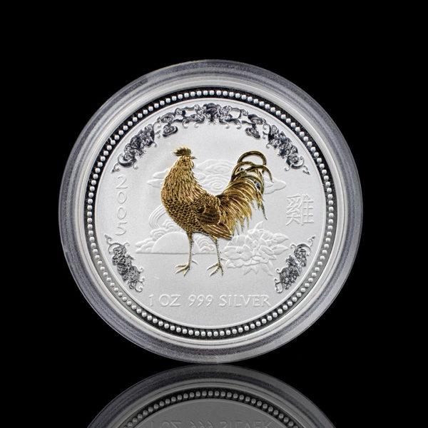 Австралия 1 доллар 2005 год - Год петуха /позолоченный петух/- Серебро 0.999