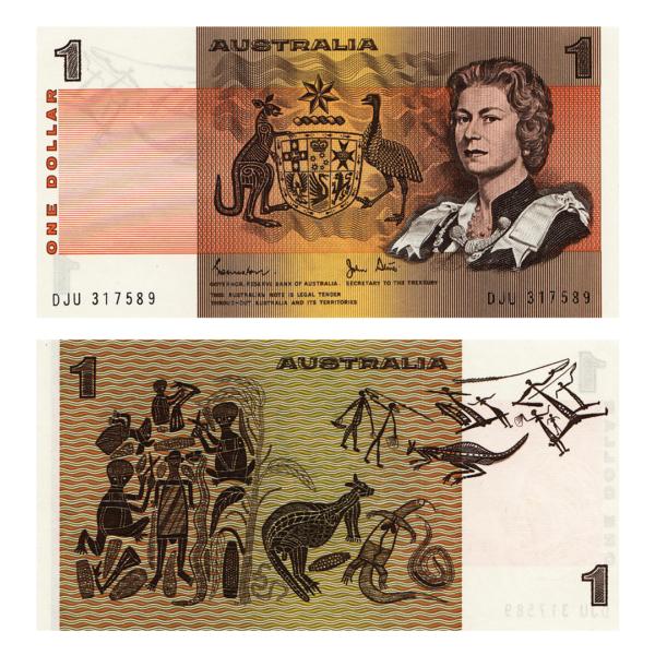 Австралия банкнота 1 доллар 1983 года