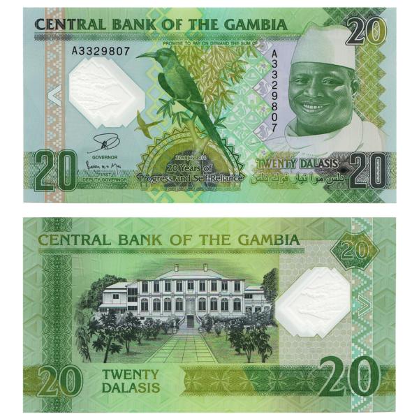 Гамбия полимерная банкнота 20 даласи 2014 года - 20 лет прогресса и самостоятельности