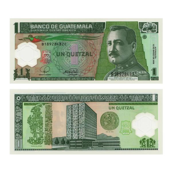 Гватемала полимерная банкнота 1 кетсаль 2008 года