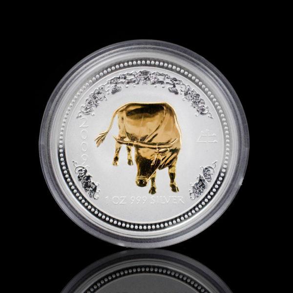 Австралия 1 доллар 2007 год - Год быка /позолоченный бык/-Серебро 0.999