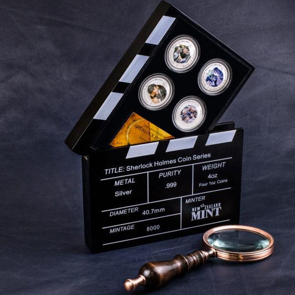 Острова Кука Набор из 4 монет 2 доллара 2007 года «Шерлок Холмс» (Proof. Серебро 0,999. Эмаль)