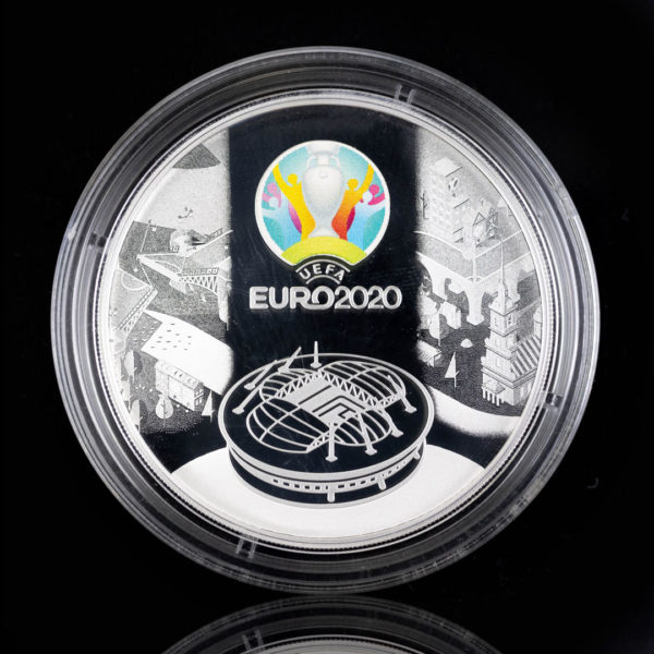 Россия 3 рубля 2021 год УЕФА Чемпионат Европы по футболу 2020, Серебро 0.925