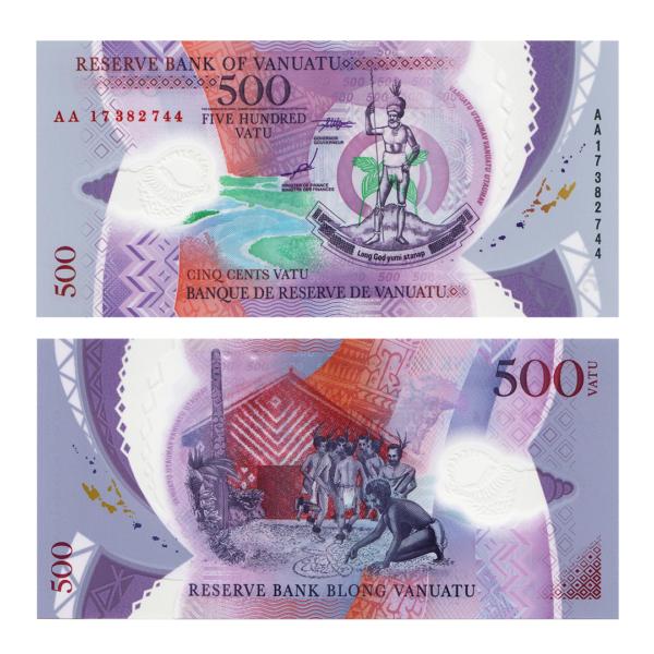 Вануату полимерная банкнота 500 вату 2017 года - Тихоокеанские Игры