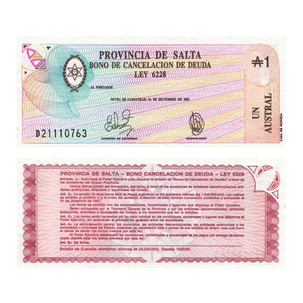 Аргентина провинция Сальта 1 аустраль 1987 года