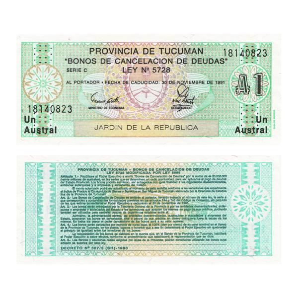 Аргентина провинция Тукуман банкнота 1 аустраль 1991 год
