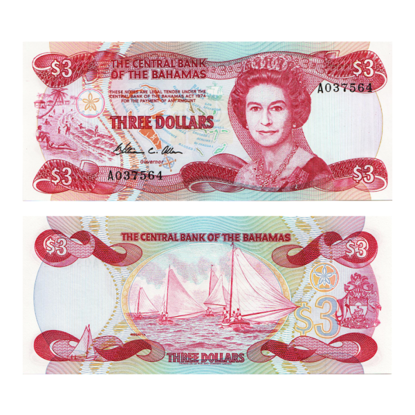Багамские острова банкнота 3 доллара 1984 года