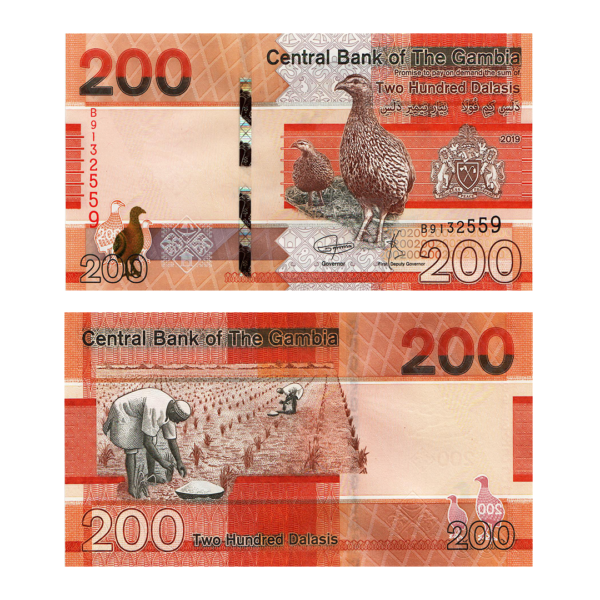 Гамбия банкнота 200 даласи 2019 года