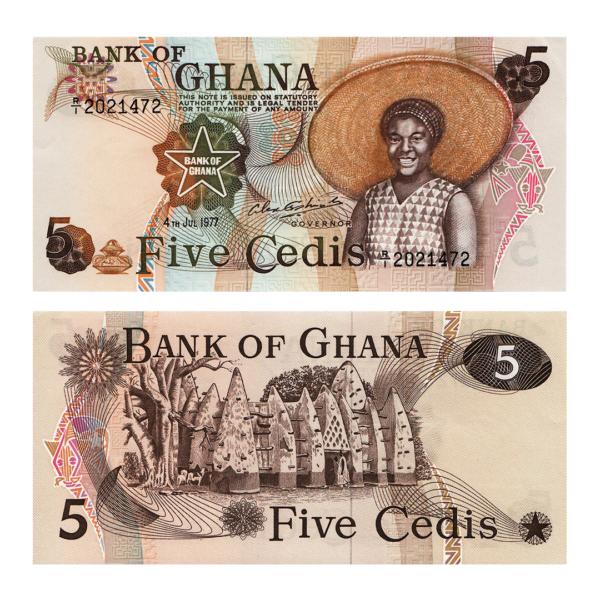 Гана банкнота 5 седи 1977 года