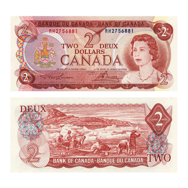 Канада банкнота 2 доллара 1974 года