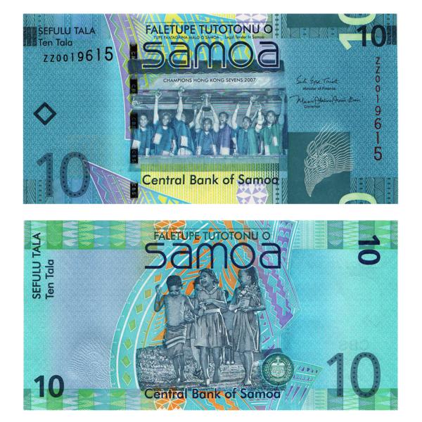 Самоа банкнота 10 тал 2008 года