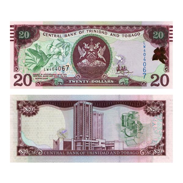 Тринидад и Тобаго банкнота 20 долларов 2006 года (с линиями)