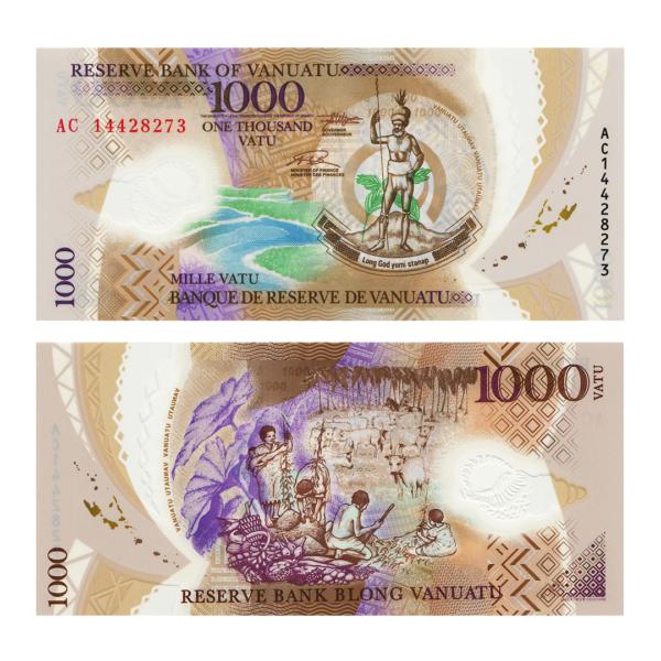 Вануату полимерная банкнота 1000 вату 2014 года