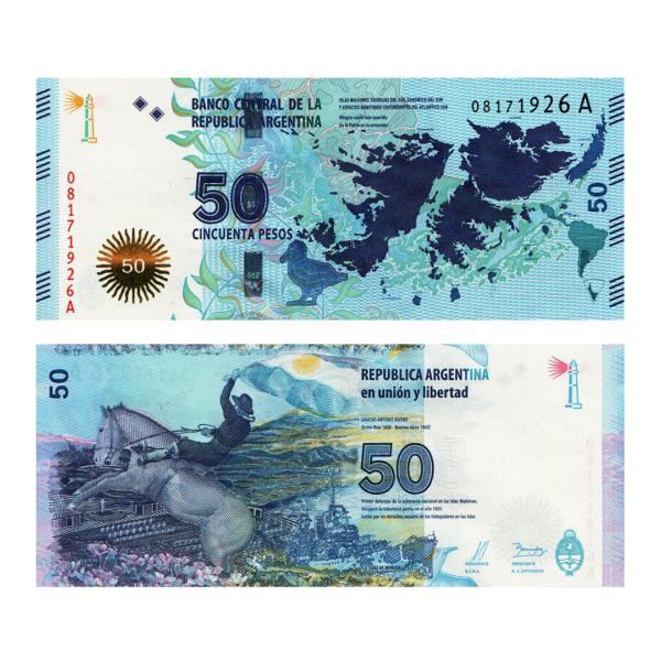 Аргентина банкнота 50 песо 2015 года - Защита Мальвинских Островов