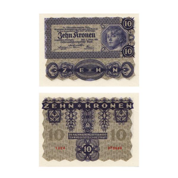 Австрия банкнота 10 крон 1922 года
