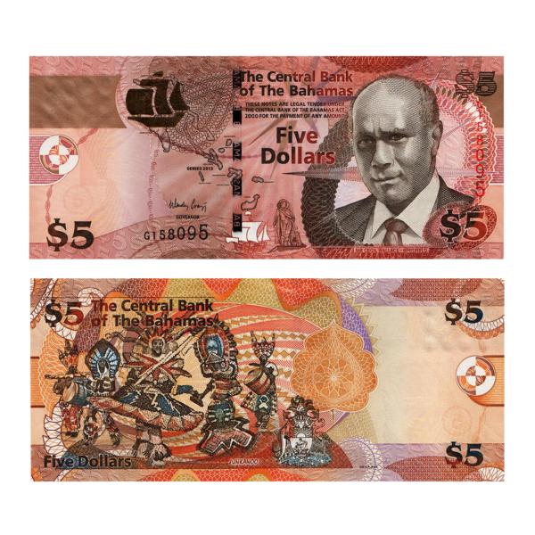 Багамские острова банкнота 5 долларов 2007 года