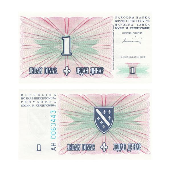 Босния и Герцеговина банкнота 1 динар 1994 года