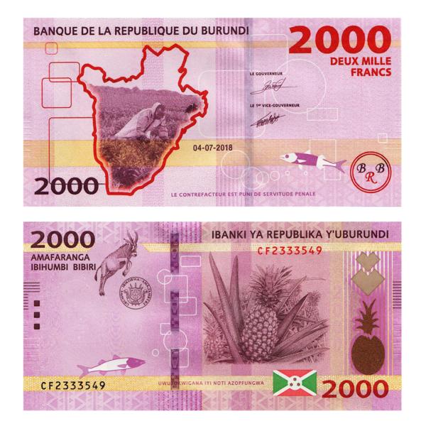 Бурунди банкнота 2000 франков 2018 года