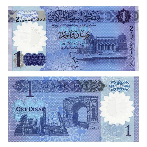 Ливия полимерная банкнота 1 динар 2019 года