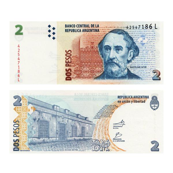 Аргентина банкнота 2 песо 2002 года - (L серия)