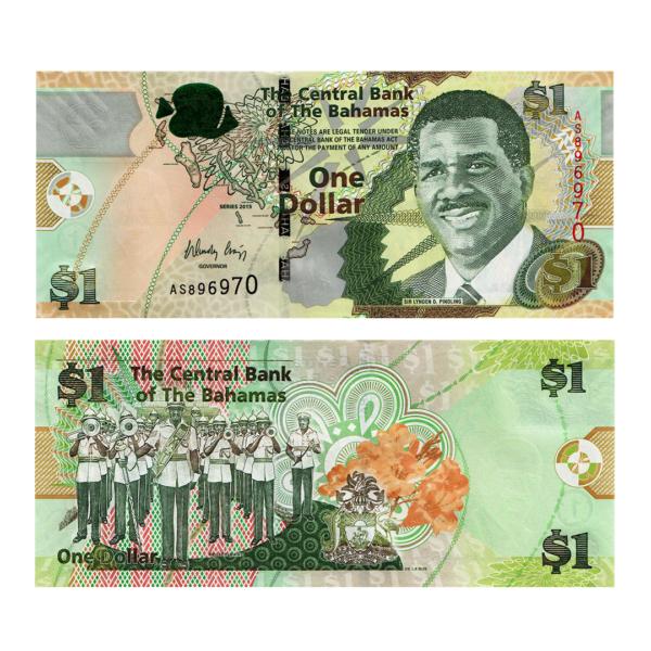 Багамские острова банкнота 1 доллар 2015 года