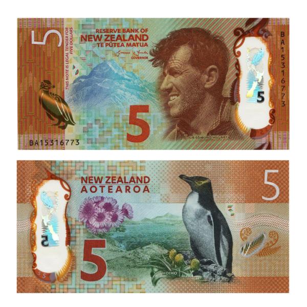 Новая Зеландия полимерная банкнота 5 долларов 2015 года