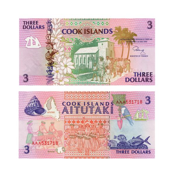Острова Кука банкнота 3 доллара 1992 года