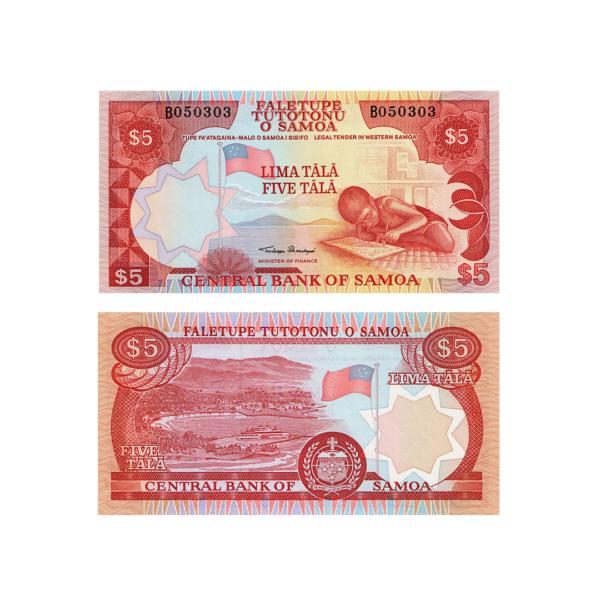 Самоа банкнота 5 тал 2002 года