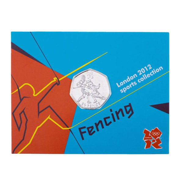 Великобритания 50 пенсов 2011 год - Фехтование (в коинкарте)