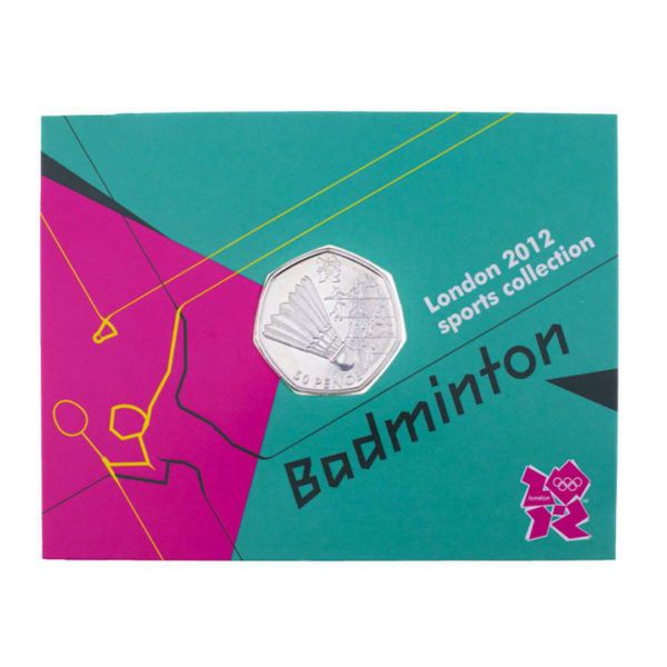 Великобритания 50 пенсов 2011 год - Бадминтон (в коинкарте)