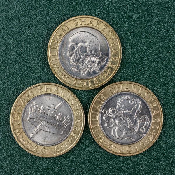 Великобритания набор из 3 монет номиналом 2 фунта 2016 года - 400 лет со дня смерти Уильяма Шекспира