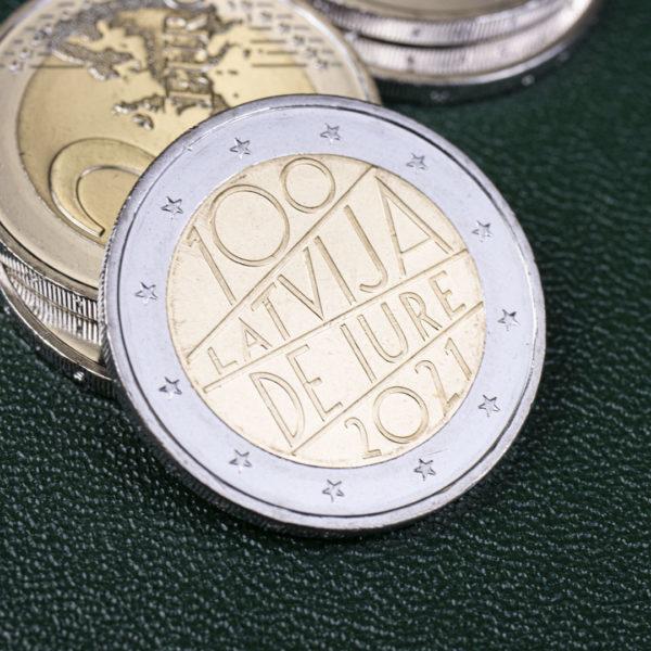 Латвия 2 евро 2021 год - 100 лет признанию государственной независимости Латвии