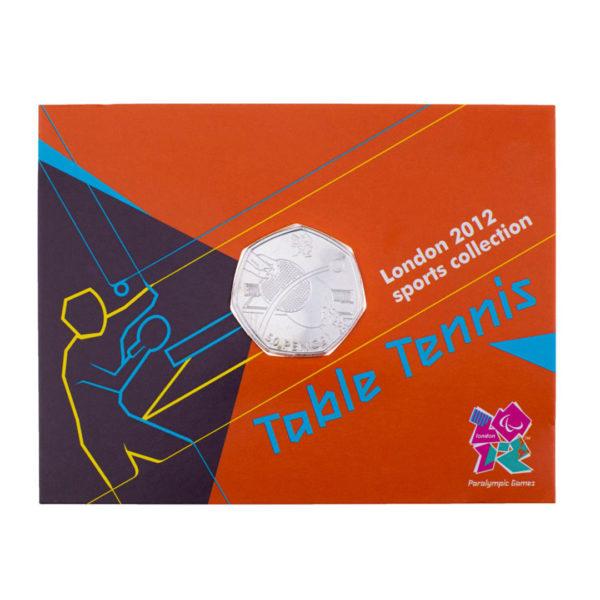 Великобритания 50 пенсов 2011 год - Настольный теннис (в коинкарте)