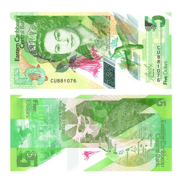 Восточные Карибы полимерная банкнота 5 долларов 2021 года